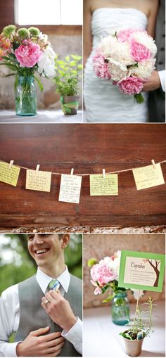 """I like the cards on close-pins. Maybe we could do """"best wishes/advice"""" on them for the bridal shower then hang at the wedding"""