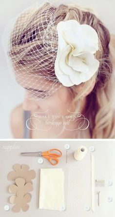 Veils are stupid expensive, but you probably knew that already. For a birdcage veil, replace the flower with a vintage brooch for an even easier DIY.For a more traditional, long, tiered veil, check out this tutorial.