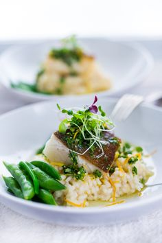 A simple delicious recipe for Seared Black Cod (or halibut, sea bass or scallops) with Meyer Lemon Risotto and Gremolata- a flavorful herb sauce.