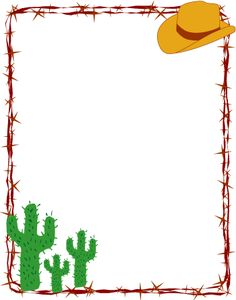 Free Printable Clip Art Borders | Barbed Wire Cowboy Rodeo border frame clip art available in these ...