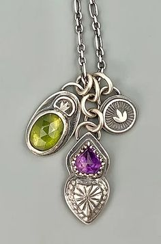 Amethyst and Vesuvianite Heart Charm necklace   Shalondesigns Heart Charm, Amethyst, Handmade Jewelry, Charmed, Pendant Necklace, Handmade Jewellery, Amethysts, Jewellery Making, Diy Jewelry
