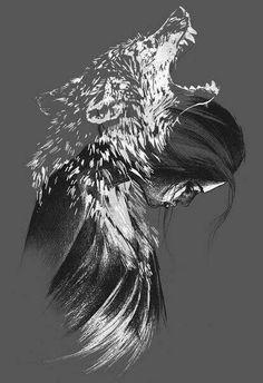 Mujer lobo sombra