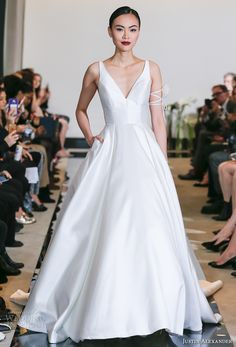 justin alexander spring 2018 bridal sleeveless v neck simple clean elegant elegant satin a  line wedding dress pockets chapel train (04) mv -- Justin Alexander Spring 2018 Wedding Dresses