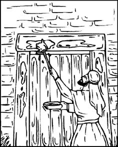 Moses Printable Coloring Pages-Protective blood on the door