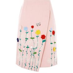 Vivetta Pink Cotton Embroidered Wrap Skirt (735 CAD) ❤ liked on Polyvore featuring skirts, pink, flower skirt, embroidered skirt, crochet skirt, pink knee length skirt and multicolor skirt