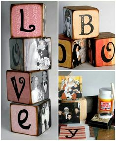 """""""mom"""", """"sister"""", """"home"""". Stitch the letters to blocks or paper punch. Or make blocks of plastic canvas with photo insert."""