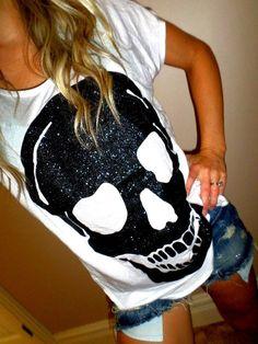 Glitter skull shirt