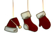 Christmas Ornaments Stained Glass 2013 by stainedglassturtle, $7.50