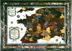 """Plateau en mosaïque de pierres dures, marbre et albâtre représentant la France, daté 1684, situé au Grand Trianon. Il était probablement destiné à l'éducation des enfants de France qui résidaient dans cette partie du domaine royal. Le plateau fut rélalisé par Claude-Antoine Couplet (1642-1722), professeur de Mathématiques des Pages de la Grande Ecurie, Trésorier de l'Académie et """"Mechanicien"""". -- See also at: http://www.photo.rmn.fr/archive/65-002800-2C6NU0H82IXQ.html"""