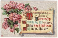 Friendship Vintage Floral Postcard