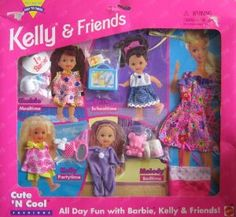 Kelly & Friends Cute 'N Cool Fashions All Day Fun w Barbie, Kelly & Friends (1996 Easy To Dress Arcotoys, Mattel)