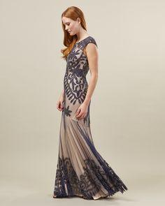 Phase Eight Perseus Petite Lace Applique Dress Blue