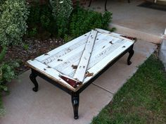 Very Rustic Barn Door COFFEE TABLE with Z Brace by WeatheredWays
