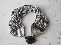 Gray Night  13 Strand Beadwoven Bracelet by dancingraindesigns, $35.00