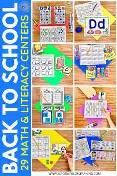 Back to School Literacy and Math Centers. These back to school centers includes hands-on and engaging activities for students to practice the alphabet, handwriting, numbers, counting, shapes, sorting, and more! There are 29 back to school centers included! They are easy-to-prep with so much included that will help create a wonderful centers environment in your classroom. Each activity includes a kid friendly 'I Can' page for independence and also a recording sheet to show their hard work.