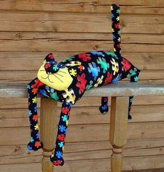 """Детская ручной работы. Ярмарка Мастеров - ручная работа. Купить Игрушка-подушка """"Радужный кот"""" черный пазл. Handmade. котик Diy Crafts Hacks, Diy Craft Projects, Sewing Toys, Sewing Crafts, Comic Cat, Diy Bean Bag, Cat Applique, Diy Cat Toys, Cat Cushion"""