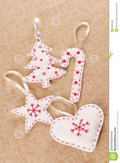 Decorazioni di Natale del feltro di bianco