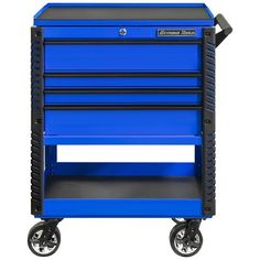 Extreme Tools 4 Drawer Deluxe Tool Cart with Bumpers, Blue with Black Drawer Pulls at Lowe's. Extreme Tools 33 In. 4 drawer deluxe tool cart with bumpers. The drawers have quick-release ball bearing slides, 100 Lbs. per set of slides. Drawer Handles, Drawer Pulls, Top Drawer, Drawer Liners, Bar Tools, Cool Tools, Steel Tool Box, Portable Workstation, Tool Hangers