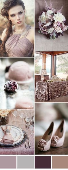 supreme mauve and sivler wedding color inspiration