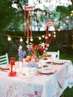 Summer Garden Party Inspiration - Use an old quilt as your tablecloth