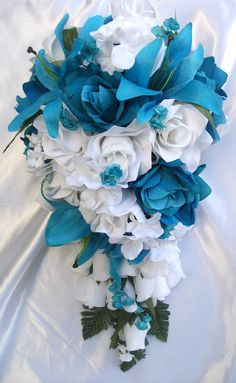 With real flowers........turquoise wedding bouquets | Bridal Bouquet Wedding Flowers Bride Groom Corsage Package TURQUOISE ...