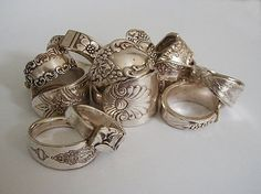 12 Silver Spoon Rings Recycled Silverware Discounted Sale Price Custom Sizes $144.00