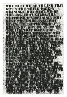 "Glenn Ligon [USA] (b 1960) ~ ""Untitled (Study No 2 For Prisoner Of Love)"", 1992…"