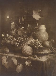 Still Life [Reminiscent of Dutch Painting]; Heinrich Kühn (Austrian, born Germany, 1866 - 1944); 1895; Gum bichromate print; 38.6 x 28.9 cm (15 3/16 x 11 3/8 in.); 84.XM.829.12; J. Paul Getty Museum, Los Angeles, California