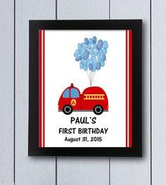 Cuadro huellas nacimiento bomberos camión / pdf / Babyshower regalo bautizo cuadro bebé niño primer nacimiento coche police policia globos