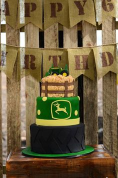Fantastic Cake at a John Deere Farm themed birthday party via Kara's Party Ideas KarasPartyIdeas.com #johndeere #farmparty #johndeereparty #boypartyideas #cake