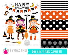 Girl Witches Clip Art Set Witch Halloween Clipart by Partymazing