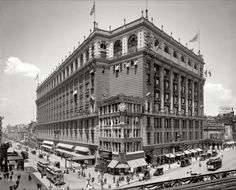 """R.H. Macy & Co., Herald Square."" Broadway at 34th Street, with a glimpse of the Sixth Avenue elevated tracks"