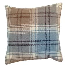 Angus Duck Egg 43cm Woven Tartan Check Plaid Cushion Cover
