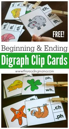 Use these FREE Beginning and Ending Digraph Clip Cards to help kids LISTEN for and identify digraphs at the beginning or end of words.
