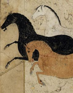 Three horses galloping across a bare landscape. Painted in gouache on paper. Perhaps from a manuscript illustrating the capture of Rakhsh by Rustam, as described in the Shahnameh. Mid 16th century, Persian (modern Iran).