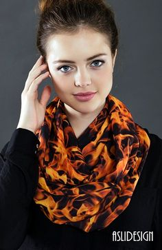 FIRE Flame Infinity Scarf, Circle Scarf, Tube Scarf, Scarves, Shawls, Spring  Fall  Winter Fashion,