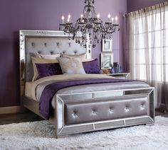17 Magnificent Purple Bedrooms That Are Worth Seeing Purple Bedroom Design, Purple Bedroom Walls, Silver Bedroom, Glam Bedroom, Purple Bedrooms, Teen Bedroom, Home Decor Bedroom, Silver Bedding, Purple Bedding