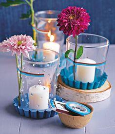 Windlichter mit Chrysanthemen - Tischdeko mit Blumen 4 - [LIVING AT HOME]