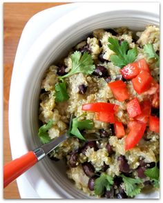 Recipe for Slow Cooker Tomatillo Quinoa and Black Beans (with or without chicken)