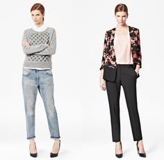 (07a) Pipi Boyfriend Denim Jeans - (07b) Vine Bloom Open Front Floral Print Jacket - French Connection 2013-2014 Fall Winter Womens Lookbook - FCUK Autumn Collection: Designer Denim Jeans Fashion: Season Collections, Runways, Lookbooks and Linesheets
