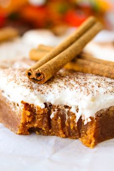 Melted butterscotch chips are the base of this rich, dense, brownie-like cake. The cinnamon and pumpkin pie spice add the perfect autumn touch.