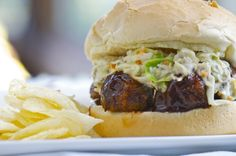 BBQ Lentil Meatball Sandwich With Sweet Miso Coleslaw [Vegan vegan coleslaw sandwich - Vegan Coleslaw Slaw Recipes, Grilling Recipes, Veggie Recipes, Whole Food Recipes, Vegetarian Recipes, Beans Recipes, Vegan Grilling, Hamburger Recipes, Healthy Recipes