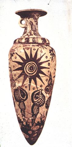 Rhyton decorated with sea snail shells and a sun. From Palace of Kato Zakos, Crete,  circa 1500 BC.