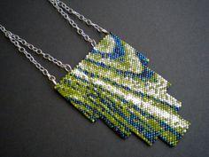 Art Deco Wood Panel Necklace Green Peyote by RareSpecimens
