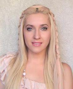 Kim Kardashian braided hairstyle with scarf / ribbon Medieval princess hair tutorial for long hair