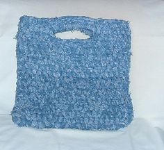 denim crafts | crocheters out there, here is a pattern for a rag bag made using denim ...