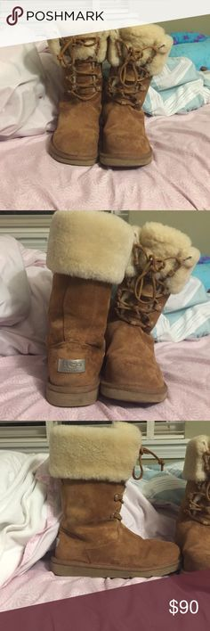 Size 8 Montclair UGGS I bought them recently off of posh mark and realized they do not fit my foot well. They are in very good condition and I only wore them out once. The soles are barley worn down. The wool inside is also in top condition. UGG Shoes Winter & Rain Boots