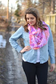 open chambray, white tee, bright pink floral scarf
