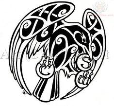 Celtic Raven Flying With S In Beak Tattoo Design