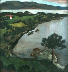 Nikolai Astrup (Norwegian, 1880-1928), Svanøybukten [Svanøy Bay], 1899-1904. Oil on canvas, 71 x 68 cm.